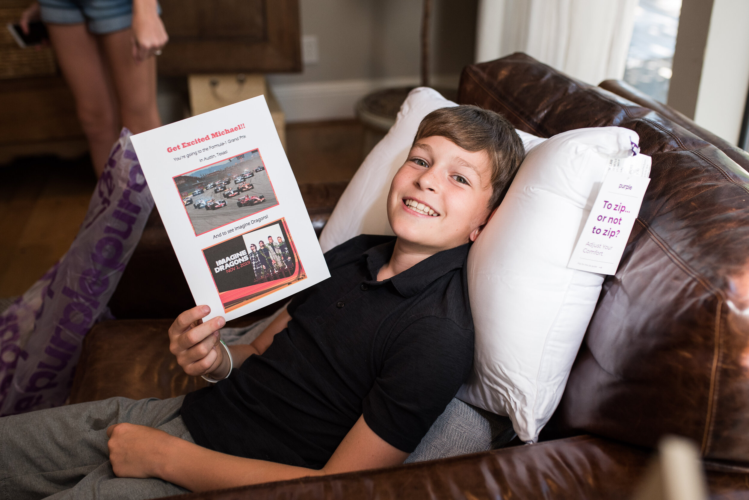 In a couple of weeks, we're heading to Austin to see an F-1 practice day and catch an Imagine Dragons concert. It was hard to tell if Michael was more excited about the weekend trip or the Purple pillow he wanted so badly.