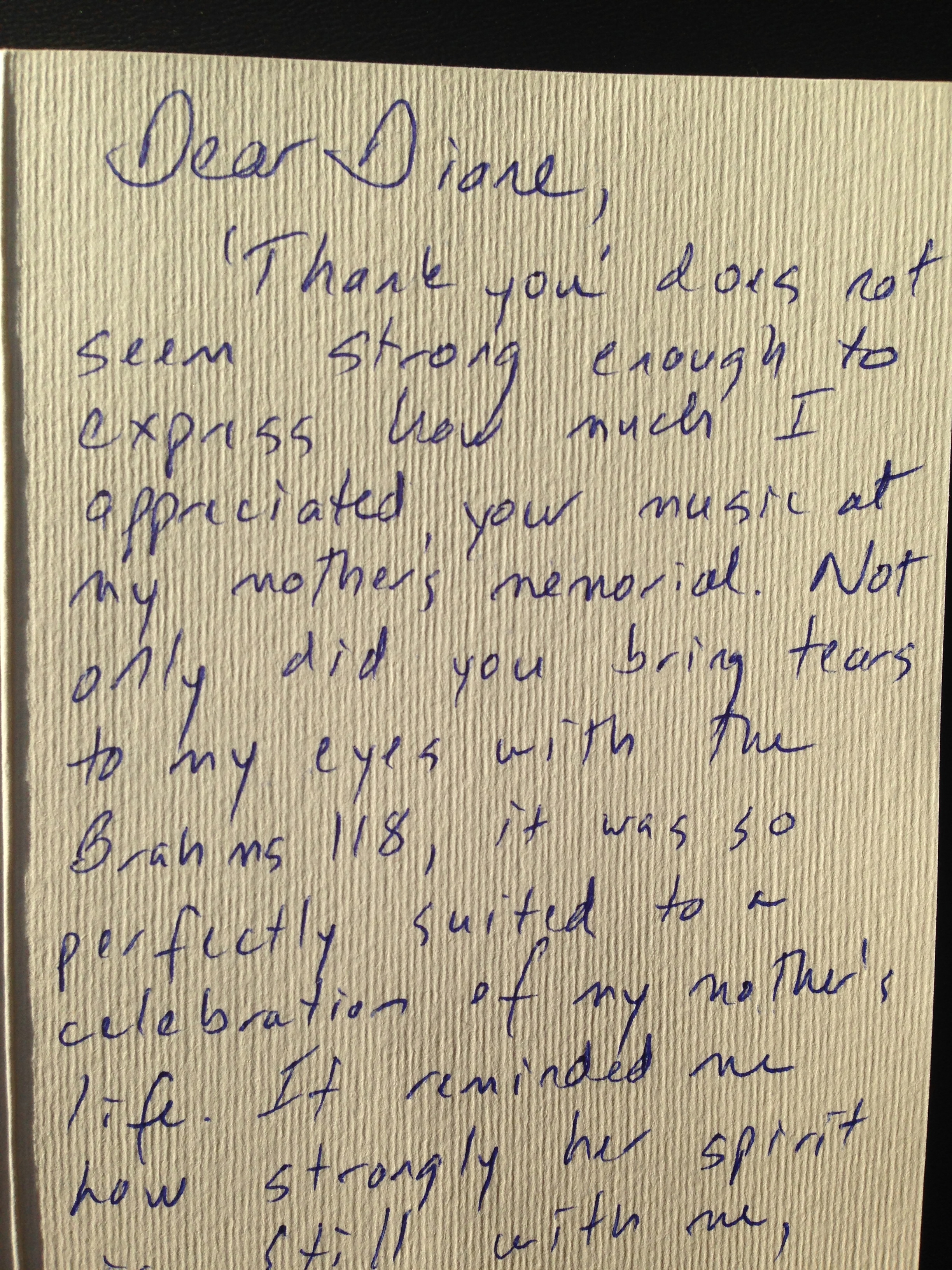 This is from the mother of two students I have taught for many years. I had the privilege of playing at her mother's (my student's grandmother) memorial service. Her older daughter was the inspiration for my series   Attention Grabbers.