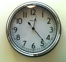 This is what the clock face looked like when I bought it. I can't tell if it's 11:05 or 12:24. Can you? (Full disclosure, this one belongs to my friend, Kara, who bought the same clock and is not confused by it. I didn't know there was going to be trouble so I didn't think to take a picture before I started.)