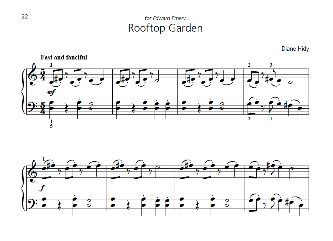 The beginning of Rooftop Garden in  Attention Grabbers Book 2 . The piece also has a lyrical middle section which contrasts with the outer sections and sets up a dramatic ending.