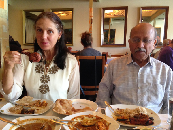 Shanti and her husband Lachu, at Ajanta Indian Restaurant in Berkeley, CA.