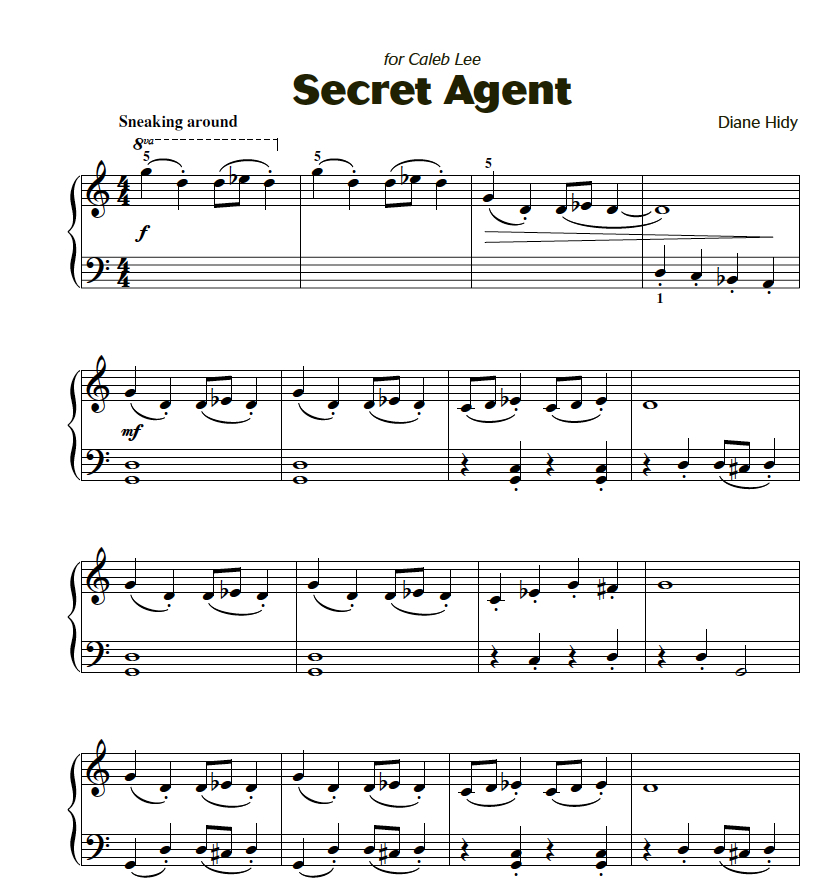 Secret Agent is a great transitional piece. Both boys and girls love its dramatic flare and quick (but not difficult) hand position changes. From  Attention Grabbers Book 2.