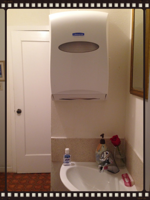 The student hand-washing station in my studio.My paper towel dispenser is actually larger than the sink.