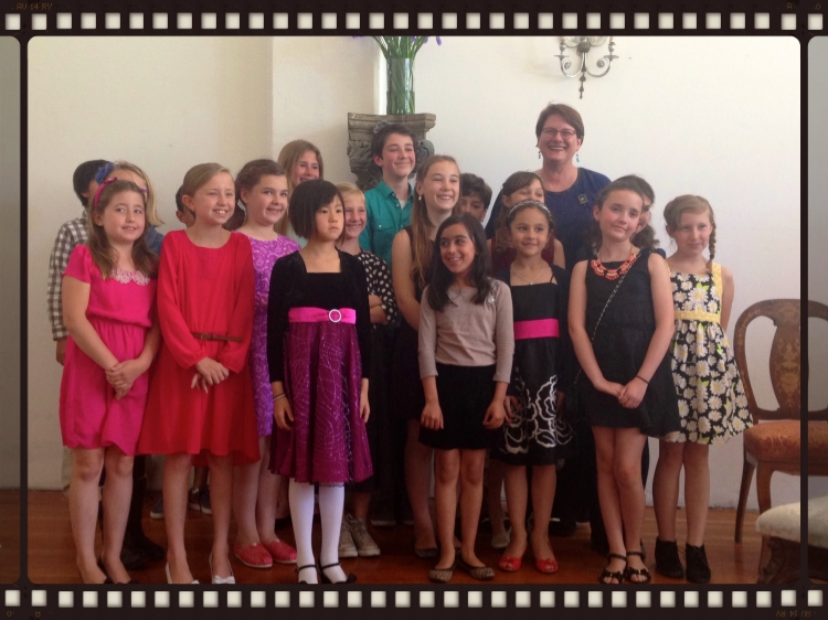 After the recital. Notice all the boys are hiding.