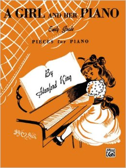"""From the publisher's description of A GIRL AND HER PIANO, this book """"includes many titles with music descriptive of their favorite pastimes such as jump-rope, hop-scotch, window shopping, and birthday parties."""""""