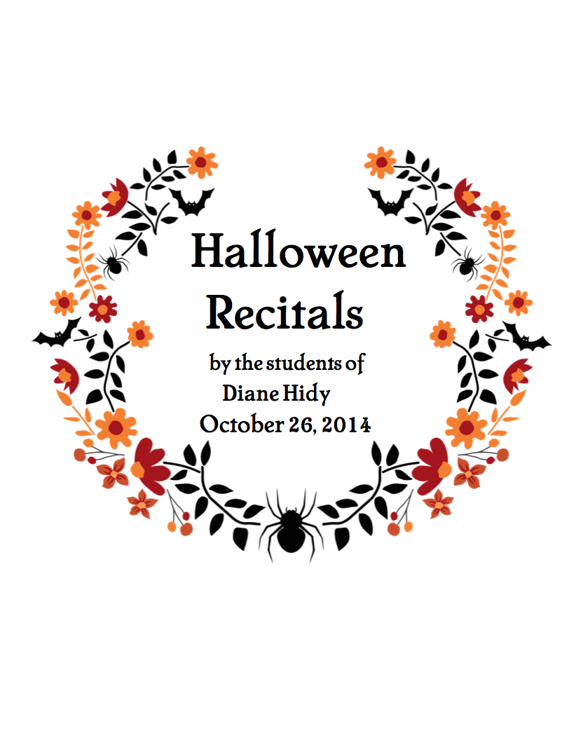Diane Hidy Halloween Recital Program Cover
