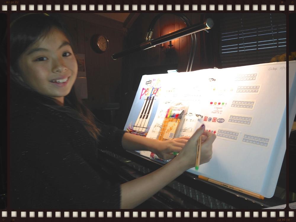 Alex creating her assignment sheet.