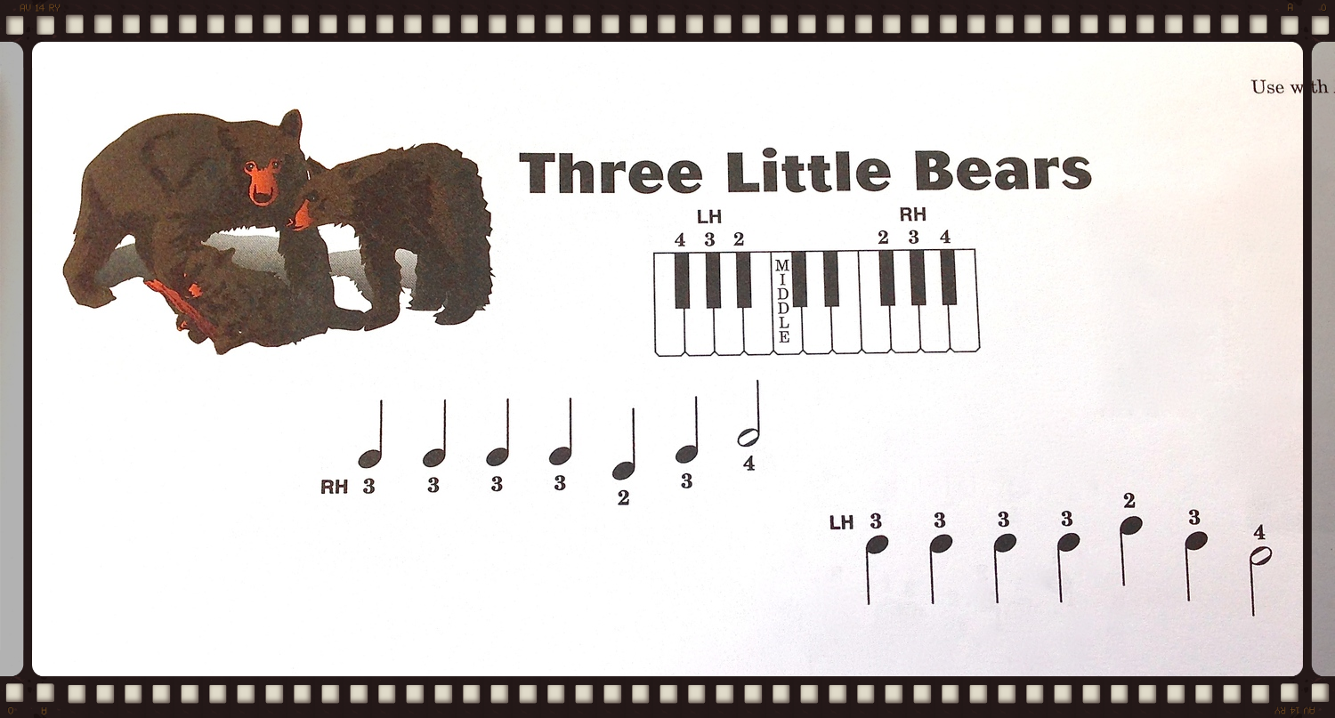 Three Little Bears from  Piano Town Primer Technic.