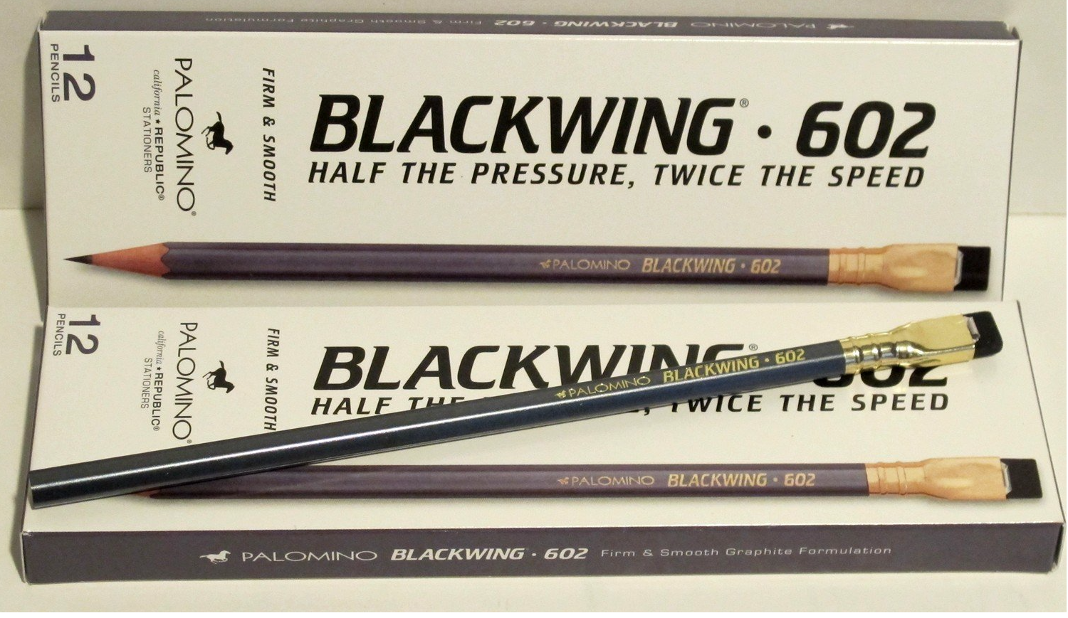 Just received a dozen  Blackwing 602 pencils . I bought them because they're what Stephen Sondheim uses and guess what? I LOVE THEM! Lovely to write with, dark enough to see but easy to erase with the attached eraser. Perfect pencil. Kids like them because the erasers make them look like little paintbrushes. I like the perfect balance and sexy color.   Highly recommended  .