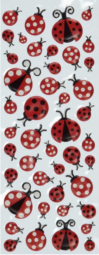 Puffy Ladybug Stickers  can serve as whimsical reminders about using excellent hand position.