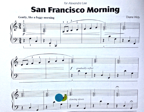 San Francisco Morning, from  Attention Grabbers Book 2 , has a beautiful, sweet sound. Learning to slow down is a skill in itself. Notice that the words are in English - slowing down (not ritard.)  What sticker might a student want to put at the beginning to help them remember to play gently?