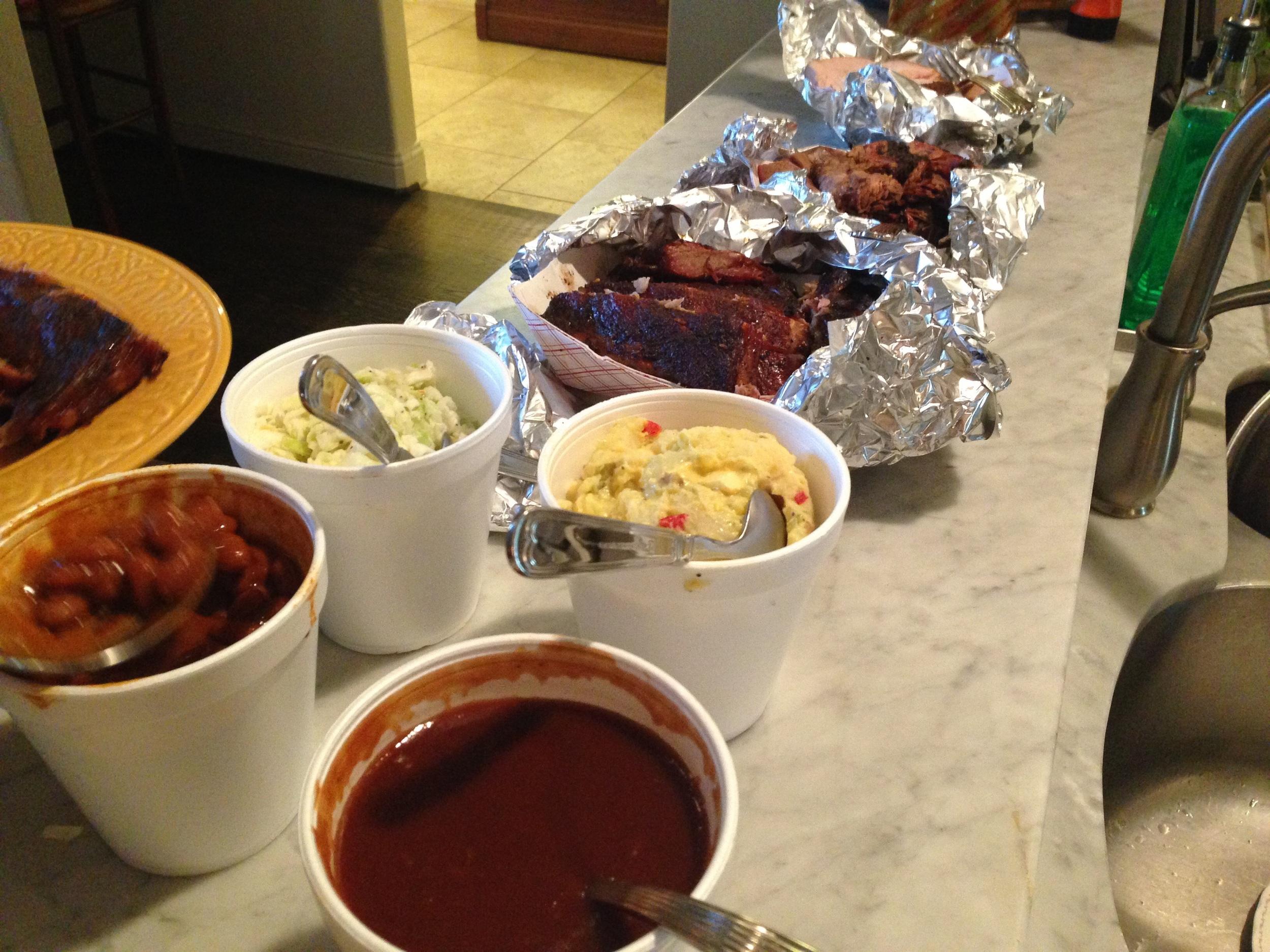 Brisket, Ribs, Turkey, Beans, Potato Salad and extra Barbecue Sauce