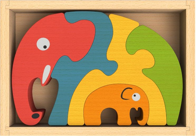 The  Elephant Family Puzzle  is easily stored in its handy box. Though it has only a few pieces, it's challenging.