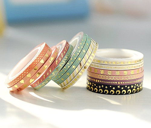 It's no secret that I'm a Washi Tape addict. But I've never seen this magical  Gold Foil Washi Tape  before. I have found the skinny tapes, likes these, to be useful for marking scores without taking up too much space on the page.