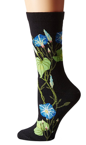 What a treat these  Morning Glory socks  would be. Black as a basic color so they're useful, but they're so lovely.
