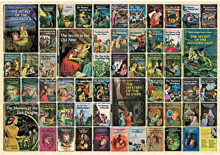 I have a serious weakness for jigsaw puzzles. This one, made up of  Nancy Drew Mystery Covers , looks like so much fun to do!