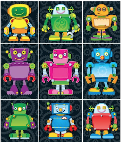 These  robot stickers  come in huge packs so they last a long time. I also appreciate that they're gender neutral.