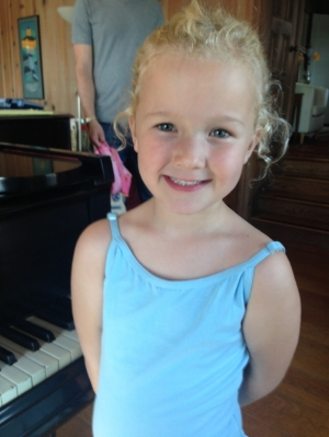 Charlie in her ballet clothes. (She has ballet right after her piano lesson each week.)