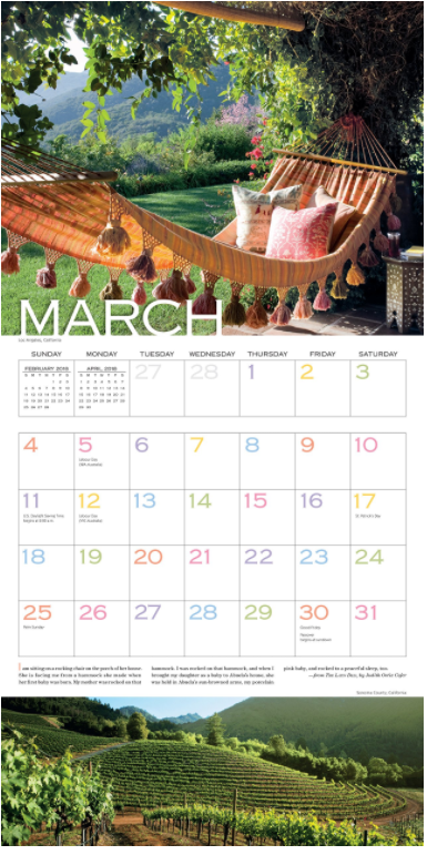 """The  """"Out on the Porch Calendar 2018""""  makes me want to be in all these places. I'm vowing that I will finally take a real, live vacation this year. Maybe more than one!"""