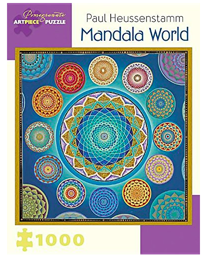 Mandala World  is my absolute favorite Jigsaw Puzzle. Ever. I've made it at least half a dozen times, and just made it again this week. If you like puzzles, try this one. Its combination of mini mandalas, beautiful colors and textures and a complicated but understandable frame make it the perfect puzzle. Period.