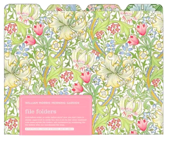 I'm always looking for beautiful office supplies like these delightful William Morris File Folders. Wouldn't a folder of bank statements be a lot more cheerful if it's housed in one of these?