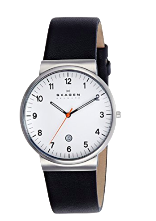 I'm alway searching for a watch that meets this criteria:    1. Arabic Numbers   2. Large, clear white face   3. Dark numbers for maximum contrast   4. The Date   5. Classy looking (not a Timex Easy-Reader, please)  I think I may have found it in this  Skagen Classic Unisex Watch .