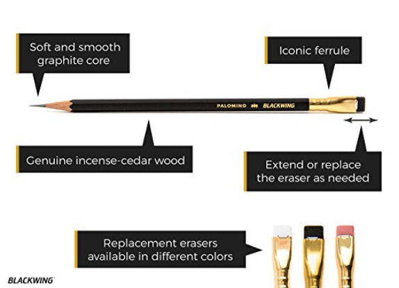 Blackwing Palomino Pencils  are my favorite by far. I found them when I read that the brilliant composer, Stephen Sondheim, uses them exclusively. I took his lead (literally!) and ordered some myself. Now I can't use anything else, and neither can my students who've tried them as well. I also love the  Palomino Blackwing Pencil Sharpener  for quick pick-me-ups when I don't want to run over to my  Electric Pencil Sharpener .