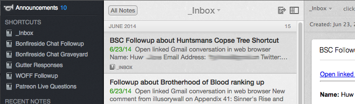 The Evernote inbox.