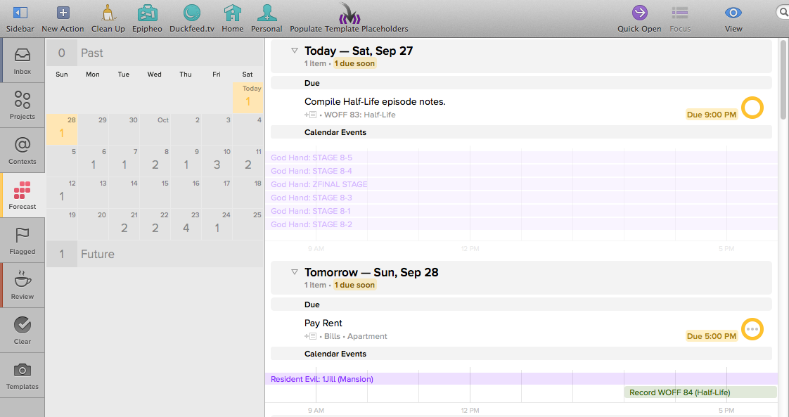 Forecast view in Mac OS X.