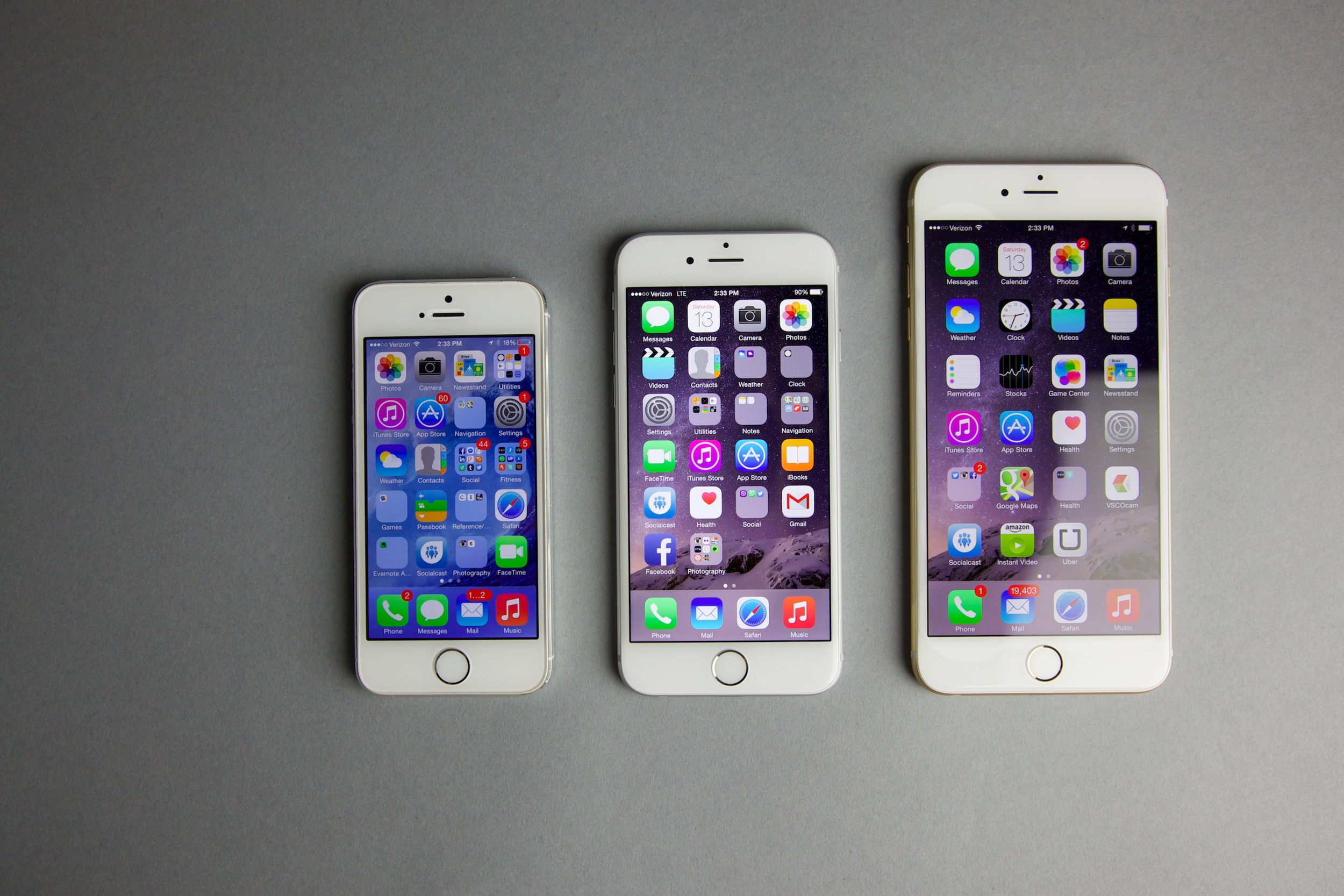 Left to right: iPhone 5S, iPhone 6, iPhone 6 plus