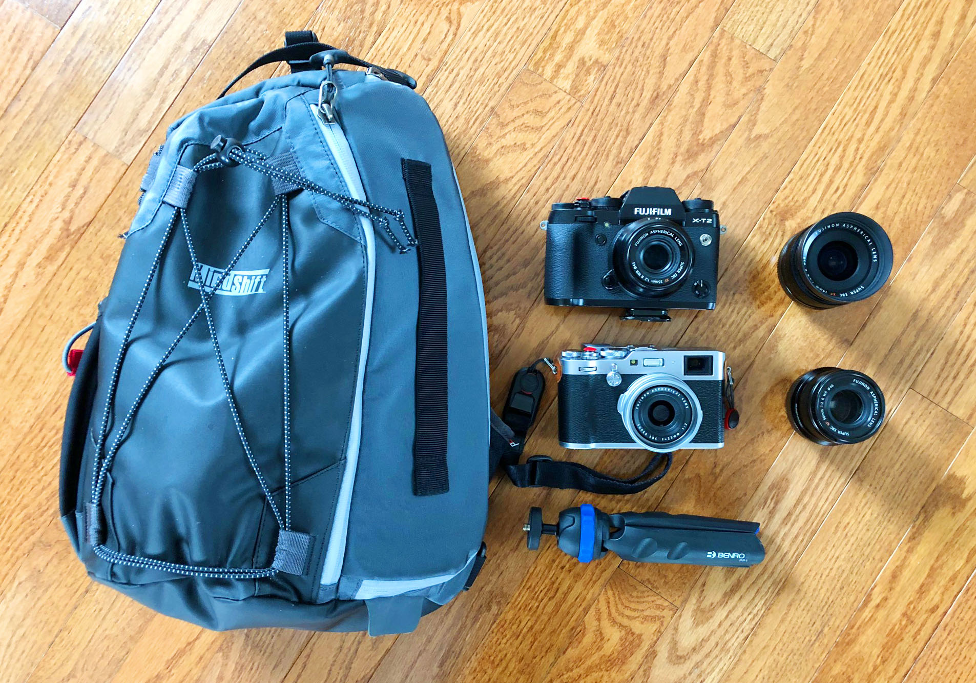 MindShift Gear Photocross Sling bag, Fujifilm X-T2, Fujifilm X100F, Benro PP1 mini tripod