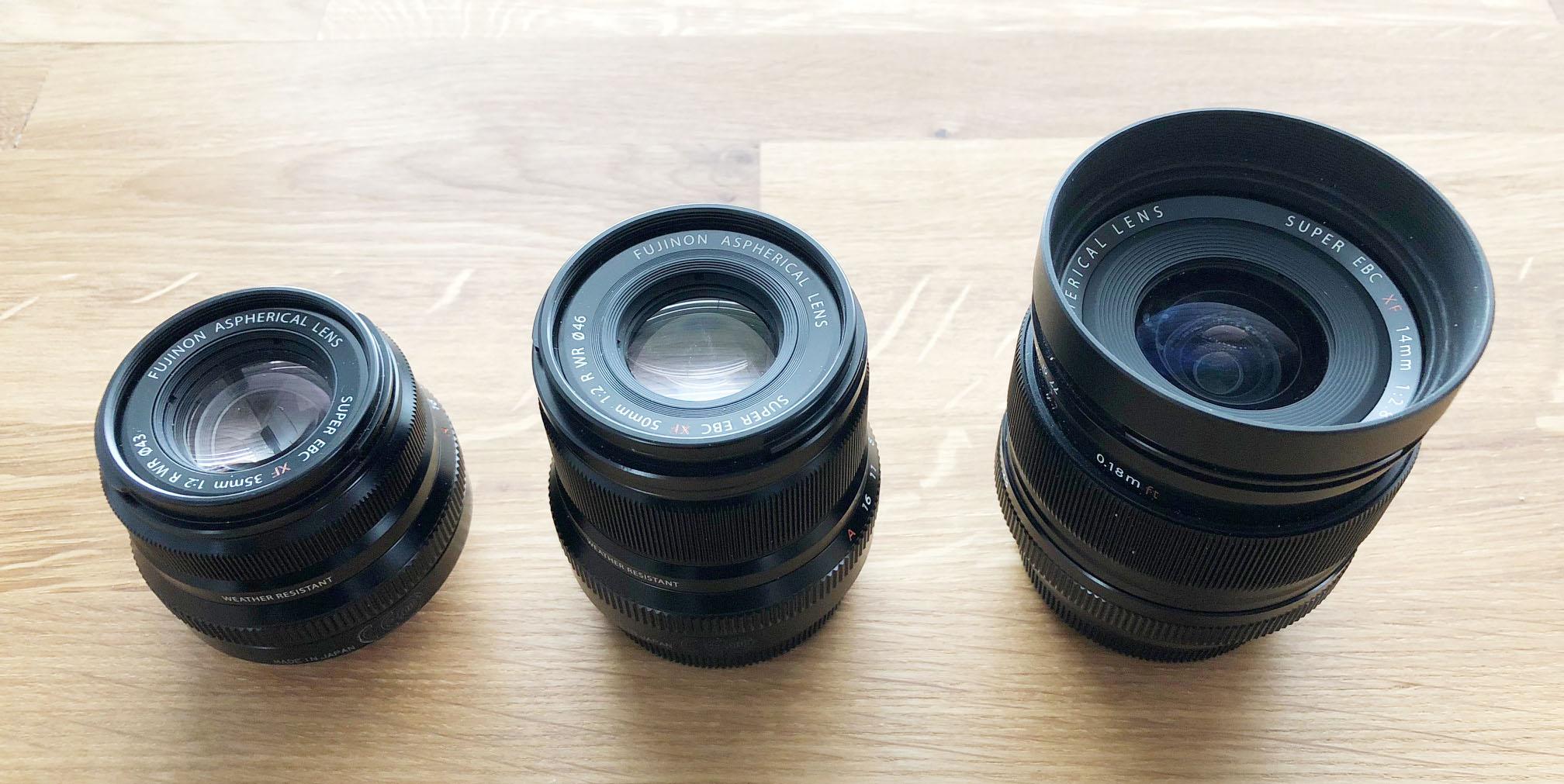 Fujifilm 35mm F2 WR, 50mm F2 WR, 14mm F2.8