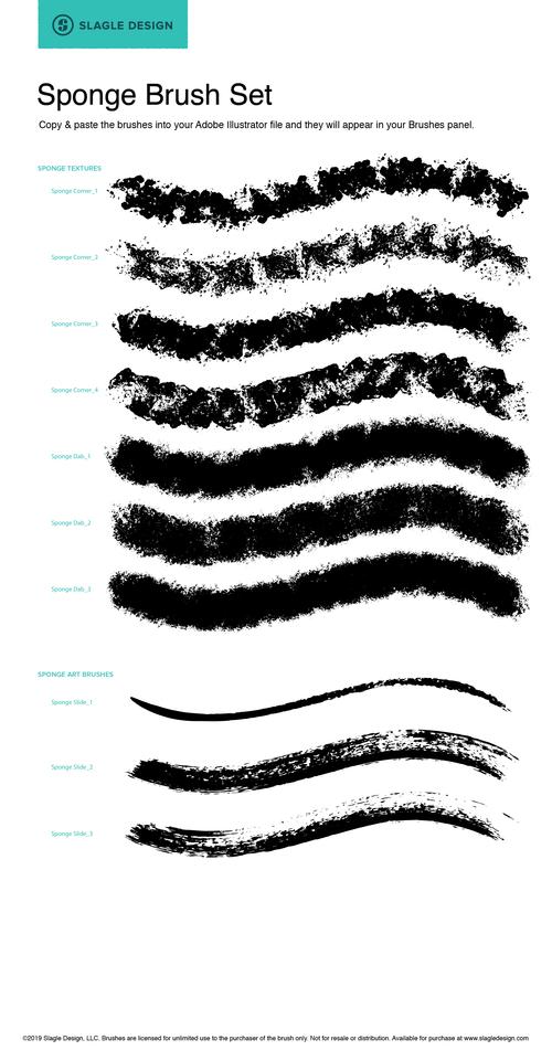 Sponge Grunge Illustrator Brush Set