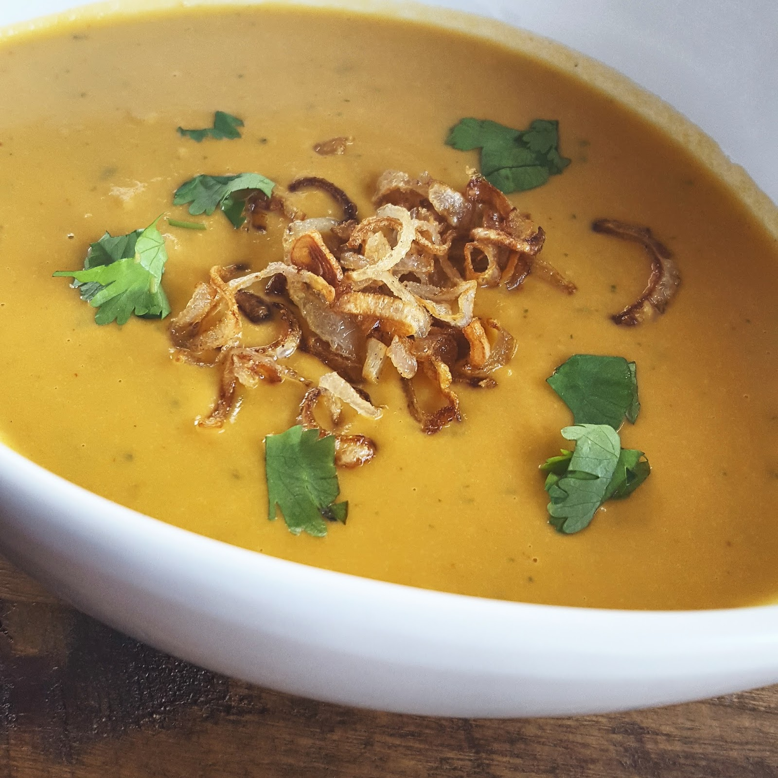 Sweet Potato and Apples Soup with Crispy Shallots