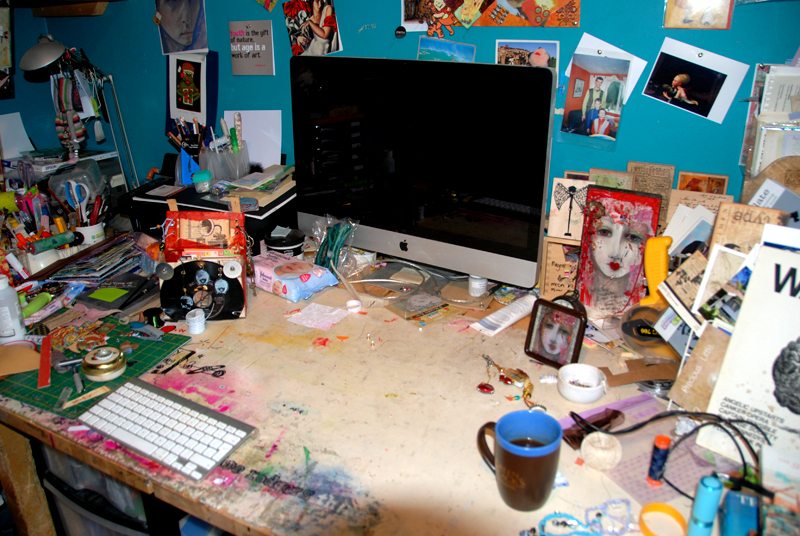 adonnalouiserodgersdesk   red fear face acrylic on wood, black tea (cannot be bother to go get milk yet)   desk mess  copyright Sept 2012