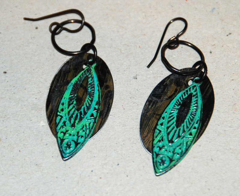I think these would be prettier with less colour, it really only takes a tiny pin head size amount of patina to create a beautiful effect. the back piece is stamped and swiped with black archival ink