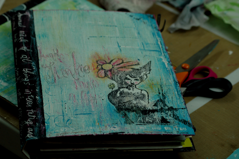 my finished journal cover using my 'mail art' stamp design ( available via my stamp tab link)