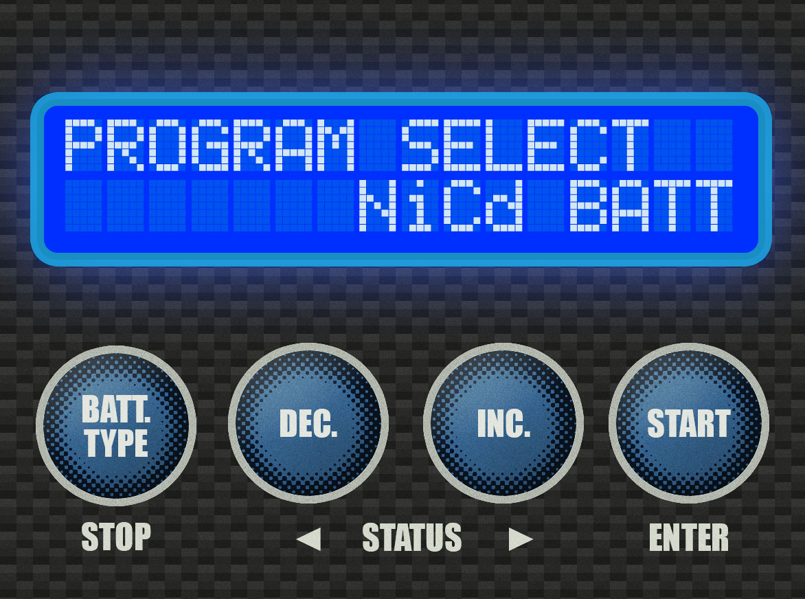 Step 1 - Press the [BATT TYPE] button enough times to see this screen.You should have the battery plugged in at this point.