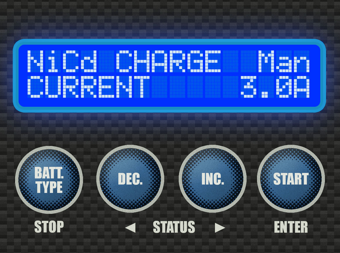 Step 3 - For this 6-cell 1800mAh battery, I usually charge at a 3.0A rate. Check your battery to see if it requires a specific charge rate.Use the [INC.] or [DEC.] buttons to select your charge rate. It will go up or down in increments of 0.1A. Once you're at the correct charge rate, press and hold the [START] button.