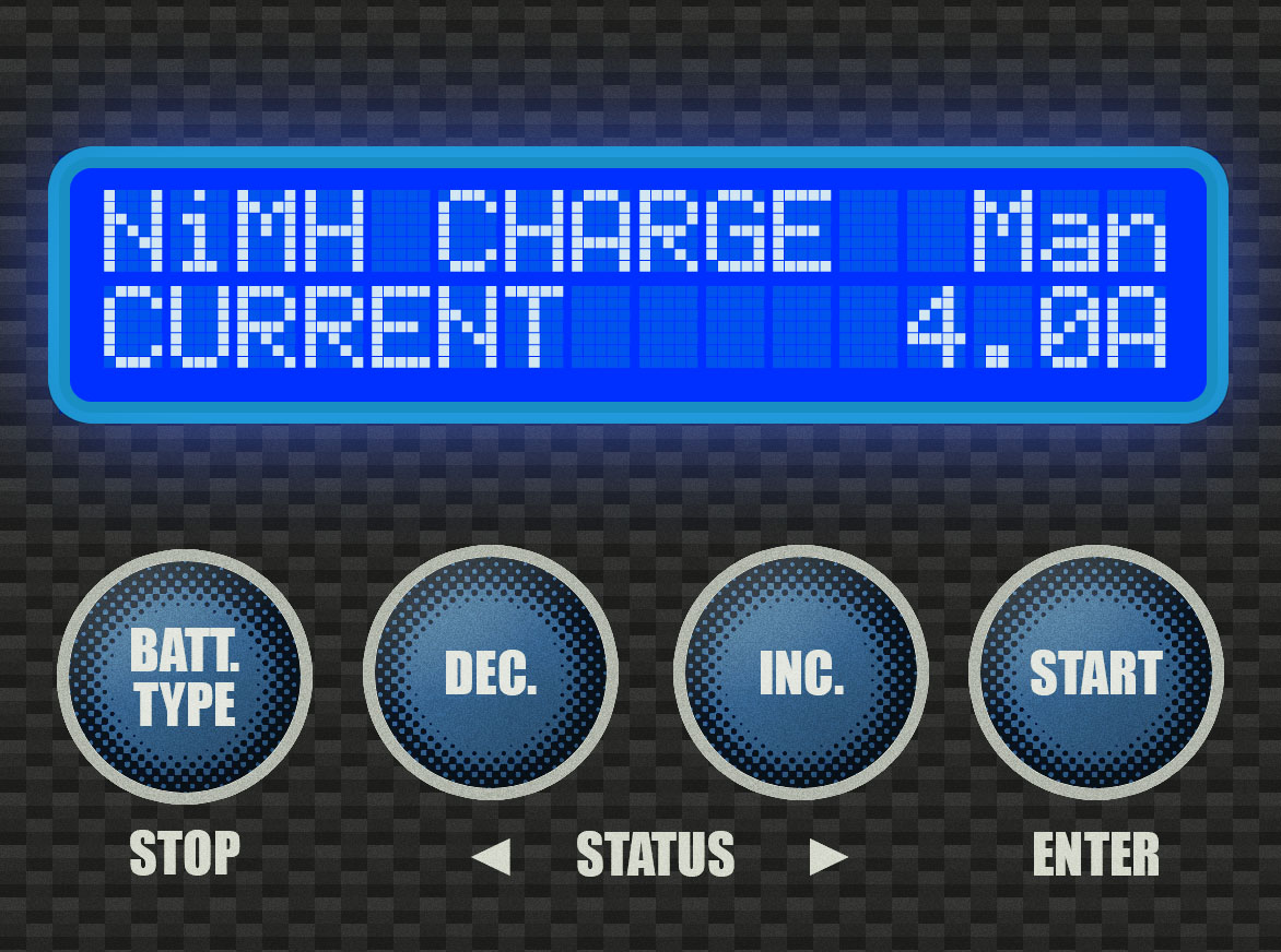 Step 3 - For this 7-cell 3000mAh battery, I usually recommend a charge rate of 4.0A; you can charge it slower, but I wouldn't charge it any faster than that. Check your battery to see if it requires a specific charge rate.Use the [INC.] or [DEC.] buttons to select your charge rate. It will go up or down in increments of 0.1A. Once you're at the correct charge rate, press and hold the [START] button.