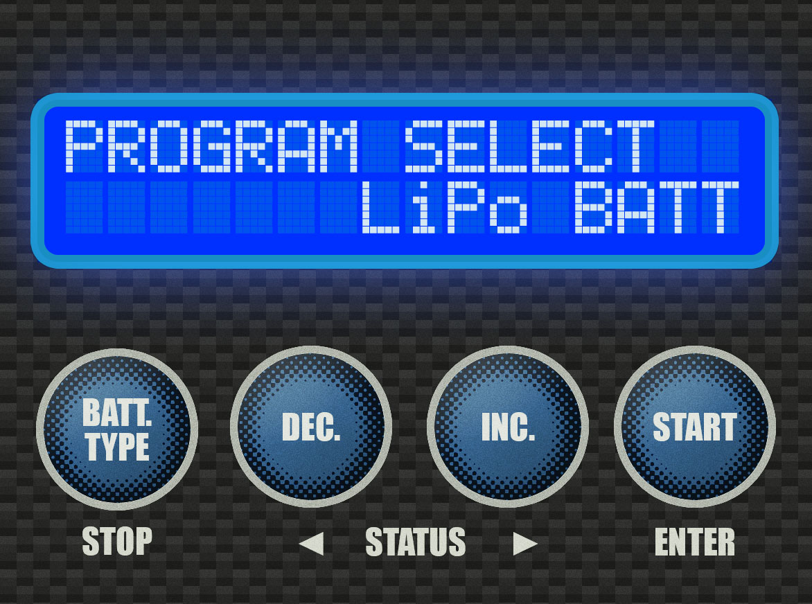 Step 1 - Press the [BATT TYPE] button enough times to see this screen.Again, you should have the battery plugged in at this point, both to the main charge lead and also to the balance board.Press [START].