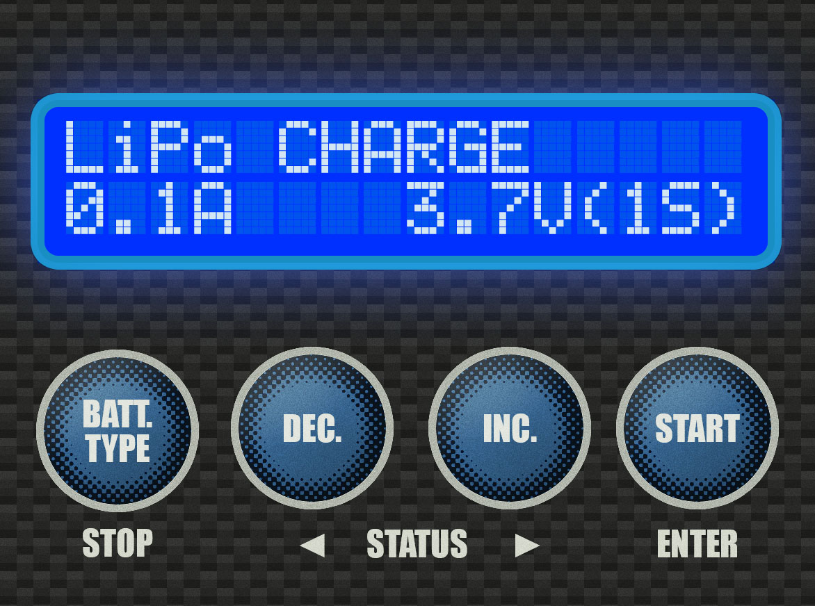 Step 2 - This is the LiPo Charge screen, like we saw above. Since we're working on LiPo Storage, however, this isn't the screen that we want. Press the [INC.] button three times.