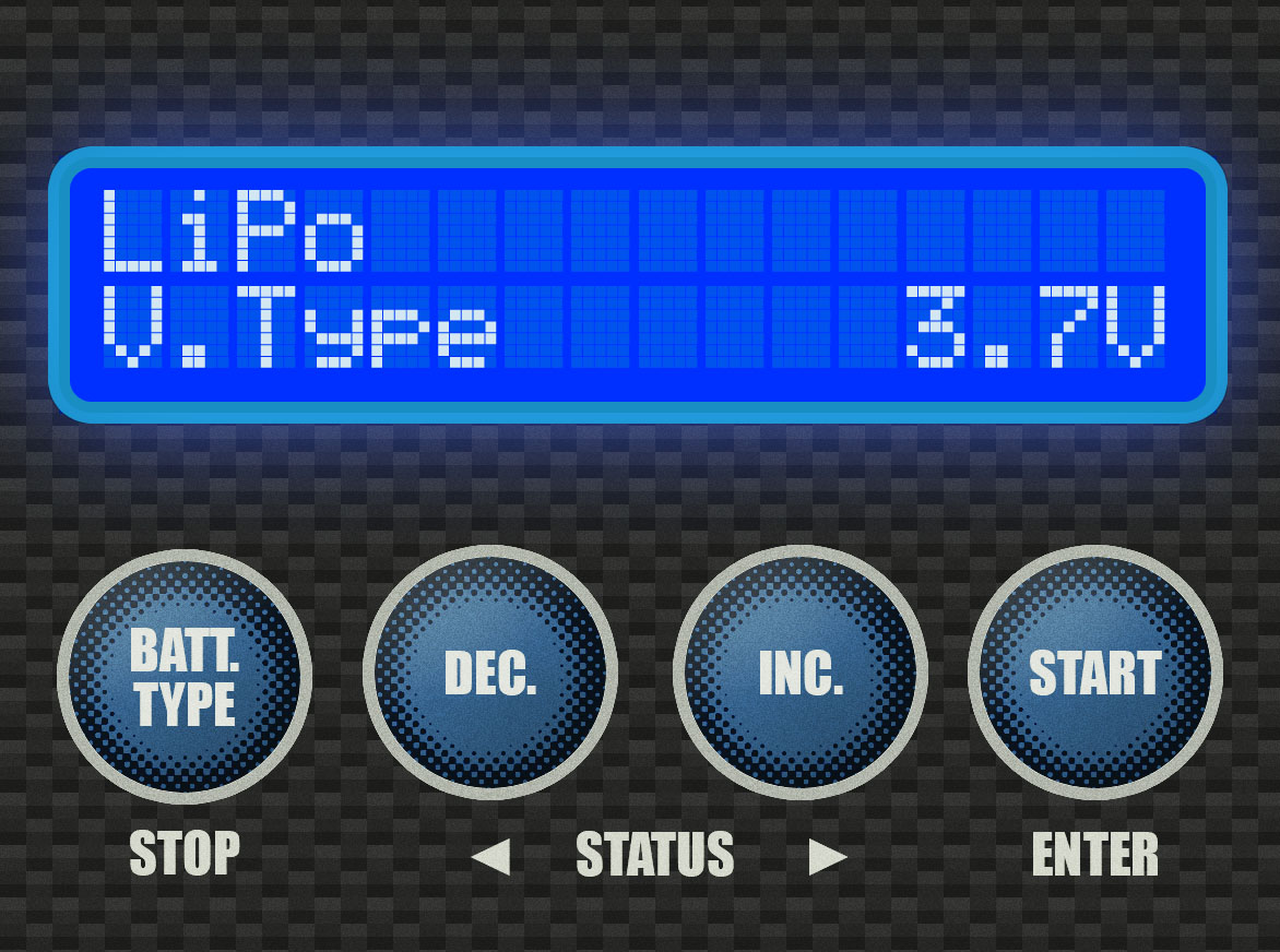 """Step 2 - You should see the """"LiPo V.Type"""" screen. At this screen, press the [DEC.] button three (3) times."""