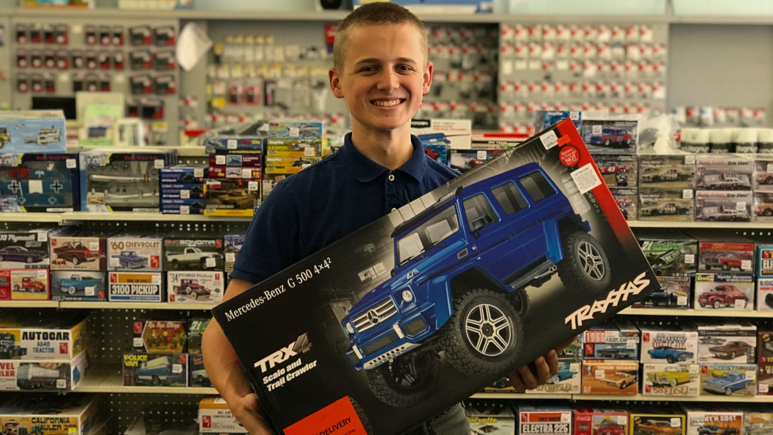 Logan shows off the new Mercedes-Benz G500 from Traxxas.