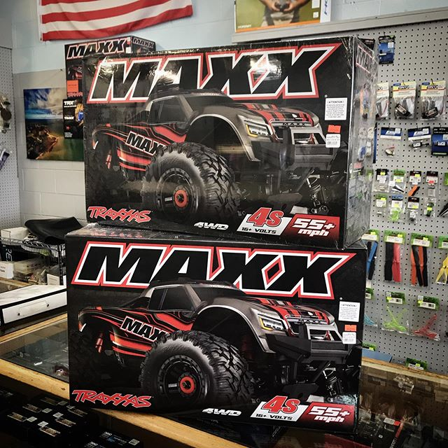 The new @traxxas Maxx has arrived! Three are available at our introductory price of $529.99: one of each color! Pick up yours today! #hobbies #traxxas #maxx #rccars #saginawmi #baycitymi #midlandmi