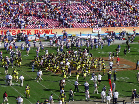 January 1, 2003 - The Outback Bowl that we won. The Wolverines celebrate a 38-30 victory over the Florida Gators.