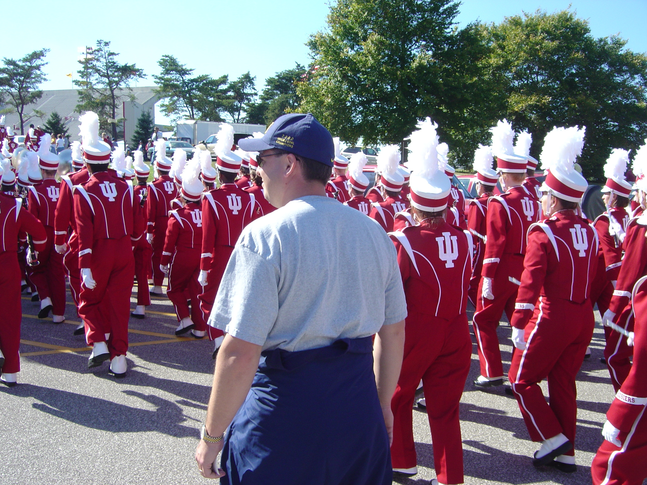 October 2, 2004:  Stephen walks with the Indiana marching band in front of the John Mellencamp Pavilion on the way to witness Michigan's 35-14 victory over the Hoosiers.