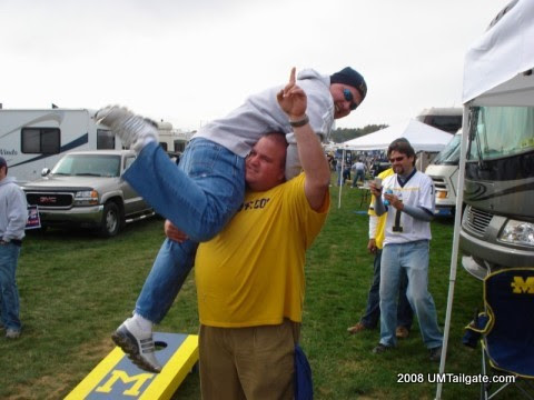 October 18, 2008: I carry the weight of the world on my shoulders before Rich Rod's Wolverines fall in Happy Valley 46-17.