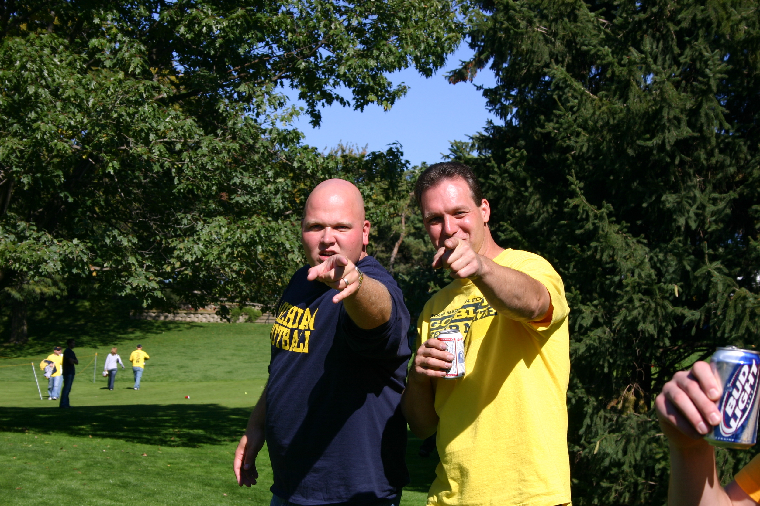 October 7, 2006:  Frydaddy and Charley point menacingly before Michigan's 31-13 pasting of Little Brother.