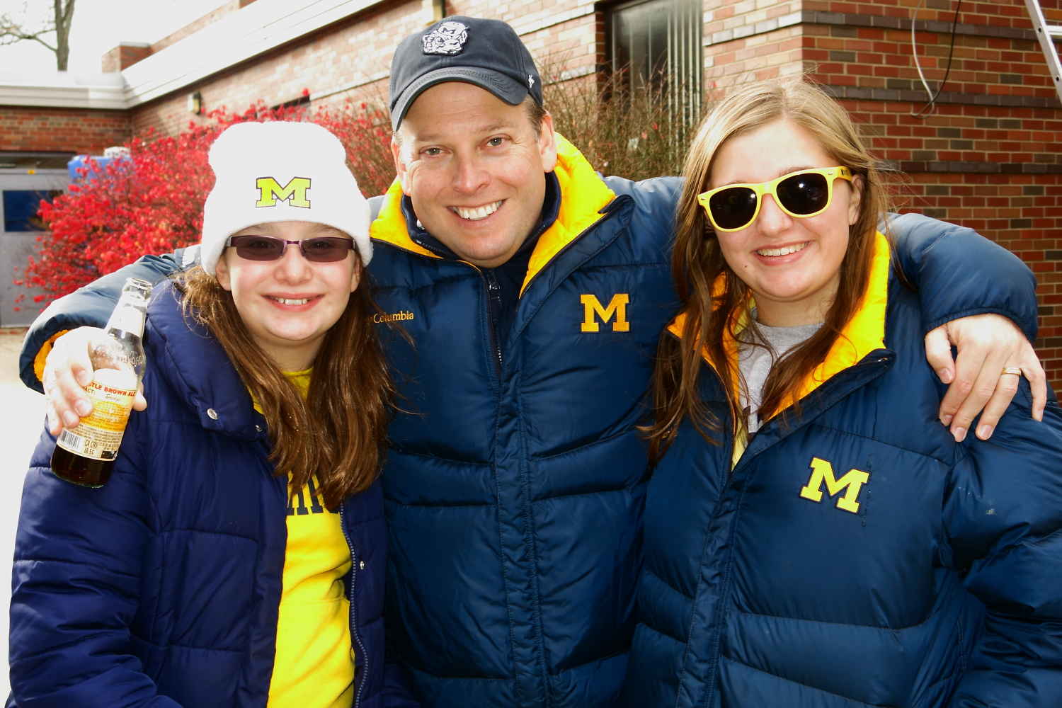 11/9/13 Michigan 13-Nebraska 17  : Uncle Stephen with Andrea and Bella during the Lumberjack Theme tailgate.